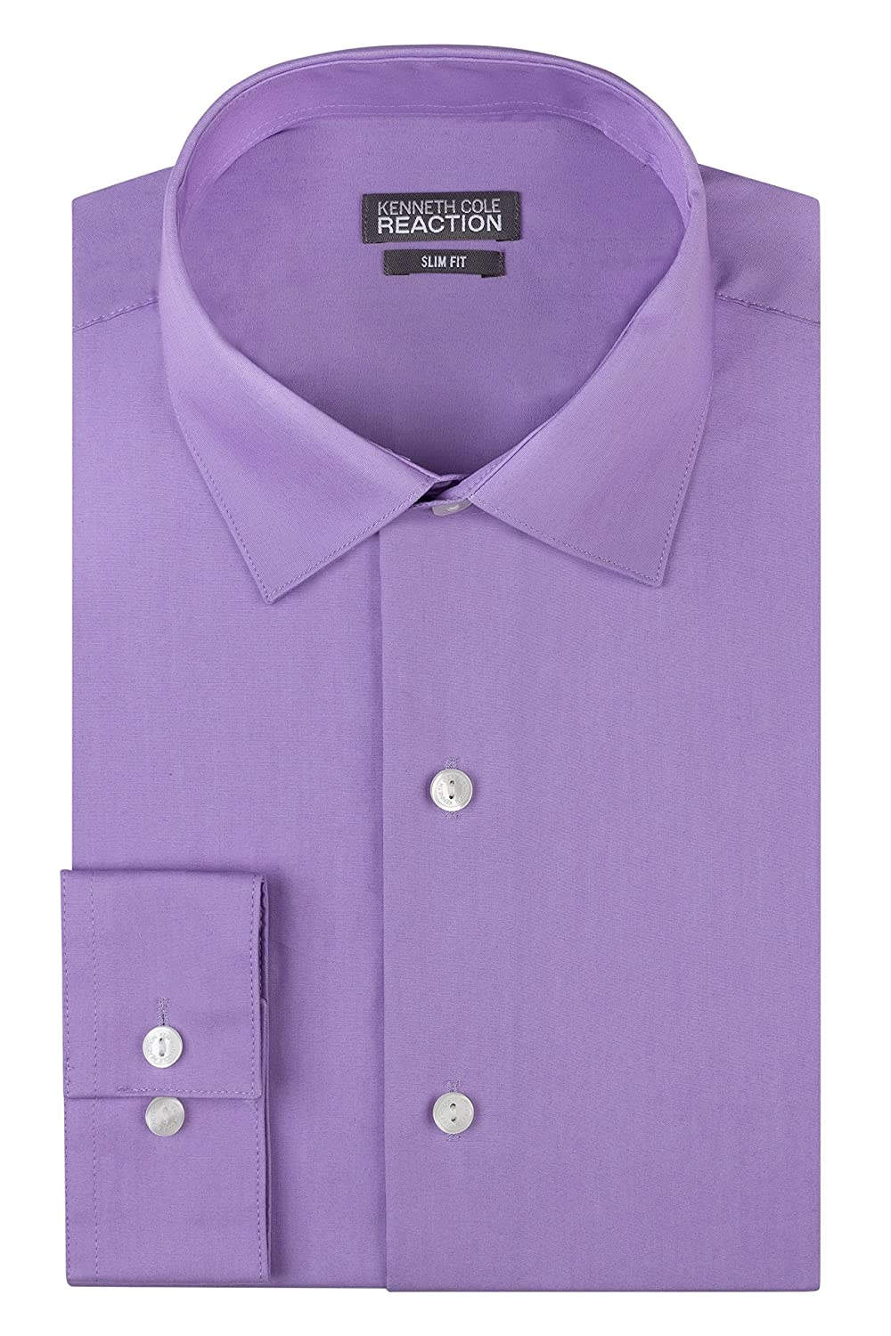 Kenneth Cole Mens Dress Shirts Slim Fit Solid Chambray Spread Collar