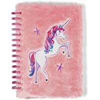 Tri-Coastal Design Fuzzy Dreamer Unicorn Journals for Girls Kids Journal with Unicorn Patch - Spiral Bound Hardcover Notebook / Diary with 120 Pages of Lined White Paper for Writing and Drawing
