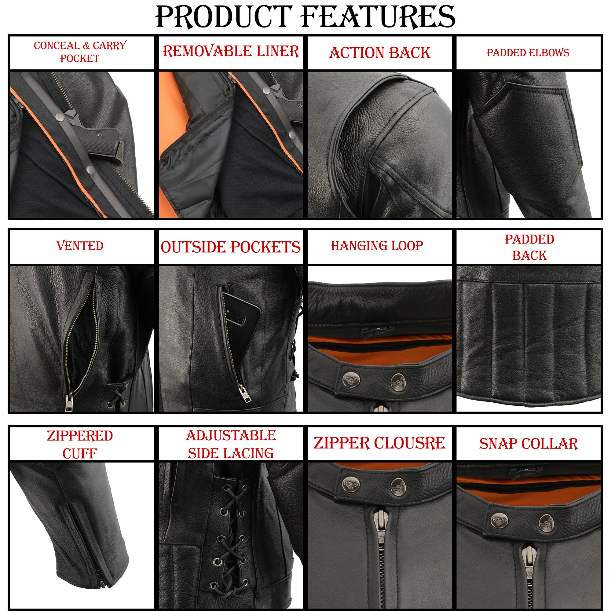 Milwaukee Leather Men's Side Lace Vented Scooter Jacket (Black, 5X-LargeTall) by Milwaukee Leather (Image #5)