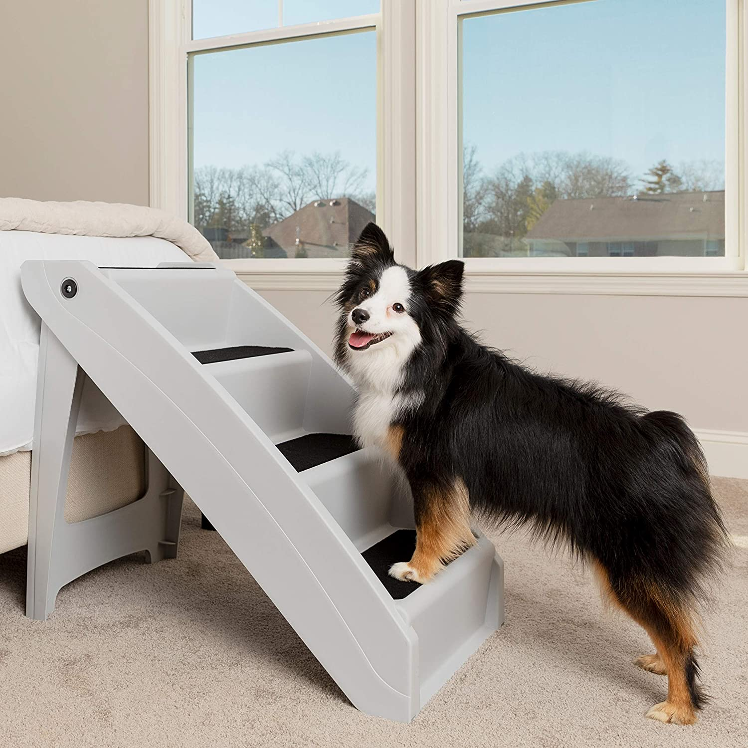 2-in-1 Unique Nice Durable Space Saver Portable Folding Pet Stairs for Dogs Wood Safety Beside Cat Ramp Steps Accent