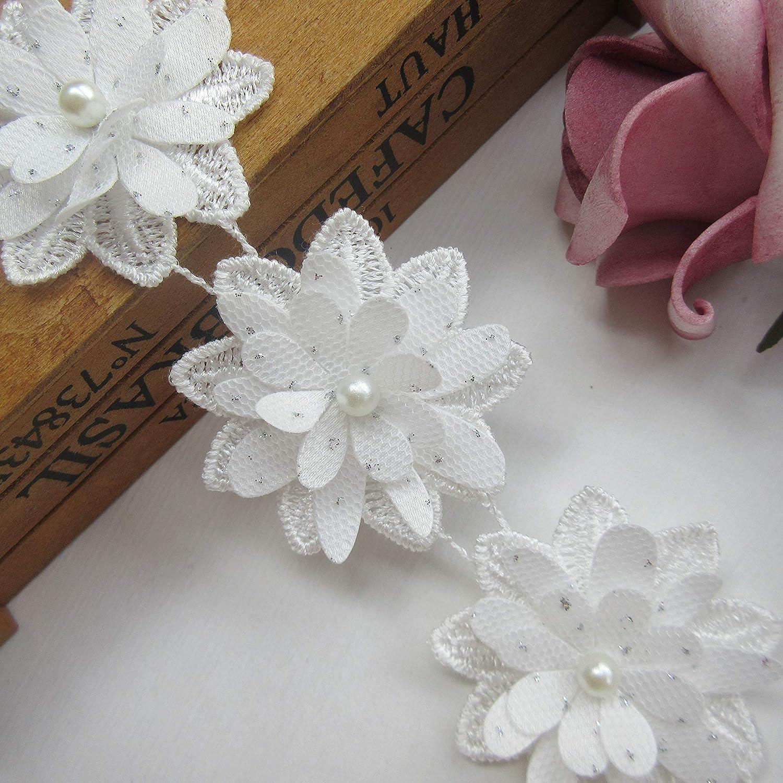 5yd Vintage Flower Pearl Lace Edge Trim Wedding Ribbon Applique DIY Sewing Craft