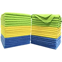 Polyte Microfiber Cleaning Towel (40 x 40 cm, 36 Pack, Blue,Green,Yellow)