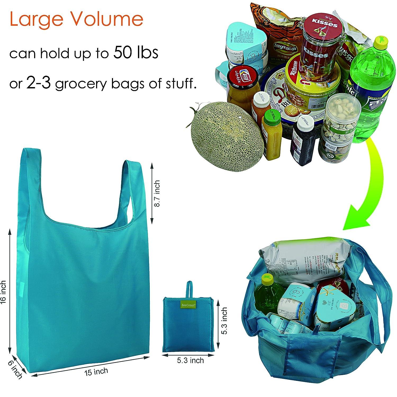 BeeGreen Sac /à provisions r/éutilisable Sacs de courses pliable pour ext/érieur Reusable Shopping Bags Machine Washable Lot de 5