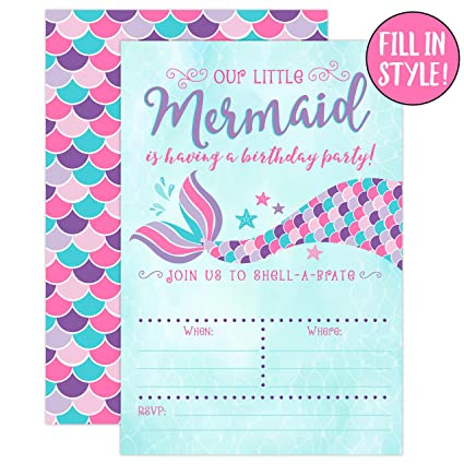 Amazon Com Your Main Event Prints Mermaid Birthday Invitations