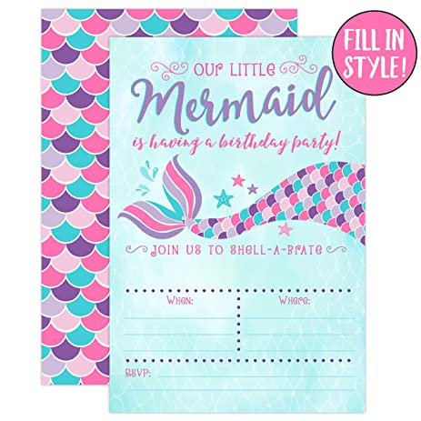 Amazon mermaid birthday invitations pink and purple 20 fill mermaid birthday invitations pink and purple 20 fill in mermaid party invitations with envelopes filmwisefo