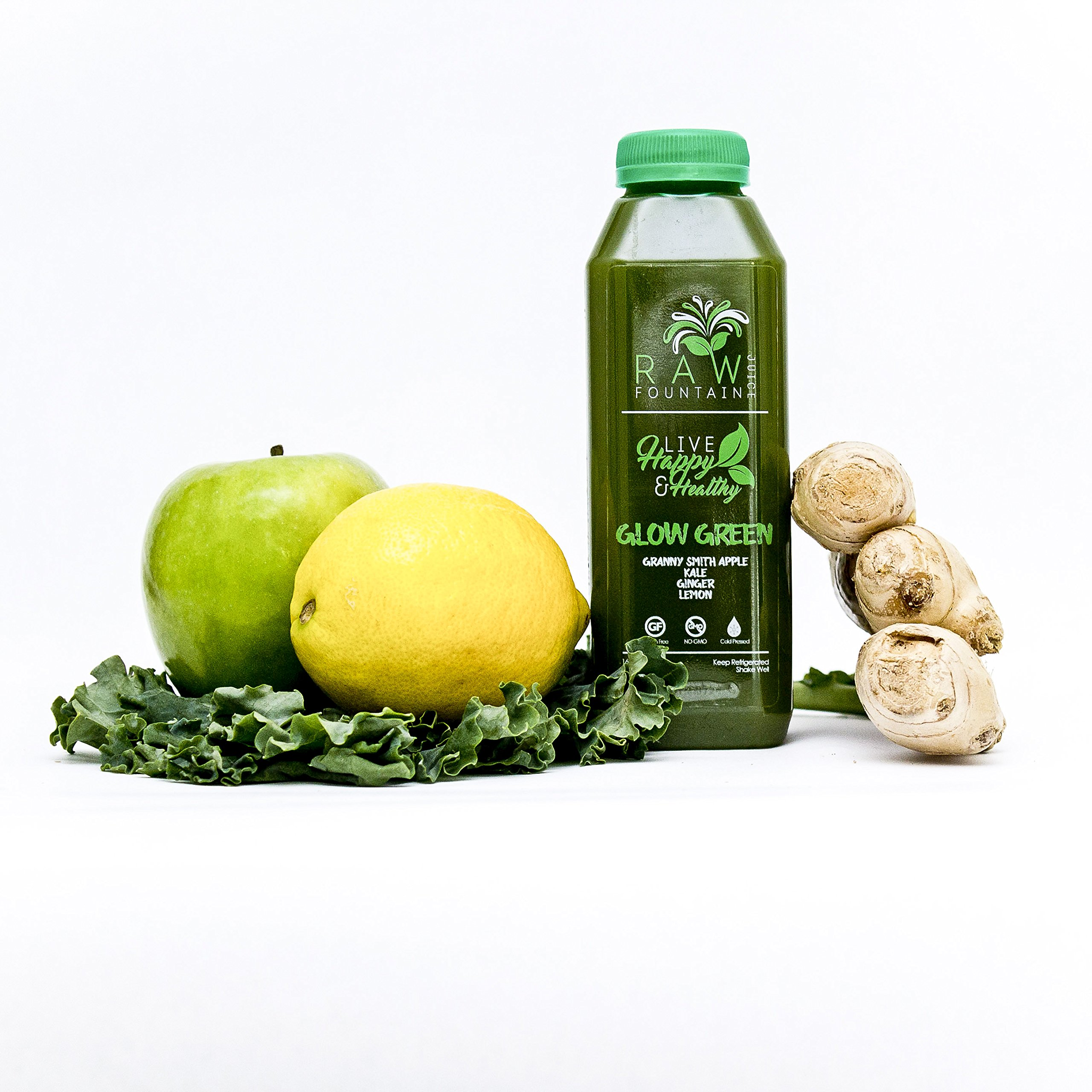 7 Day Juice Cleanse by Raw Fountain Juice - 100% Fresh Natural Organic Raw Vegetable & Fruit Juices - Detox Your Body in a Healthy & Tasty Way! - 42 Bottles (16 fl oz) + 7 BONUS Ginger Shots by Raw Threads (Image #2)
