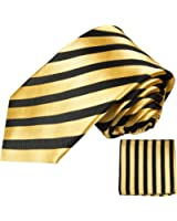 Paul Malone skinny necktie (6cm width) set 2pcs black gold striped men´s tie (regular & extra long length) + handkerchief