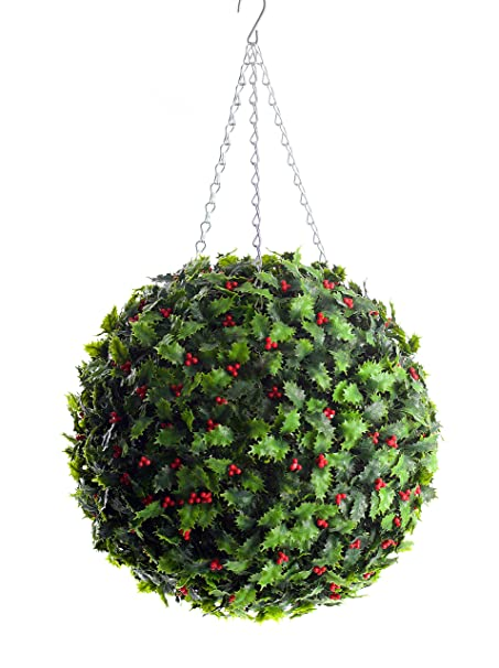 Christmas Topiary Balls.Best Artificial Set Of 2 40cm Christmas Holly Topiary Balls Xmas Hanging Basket