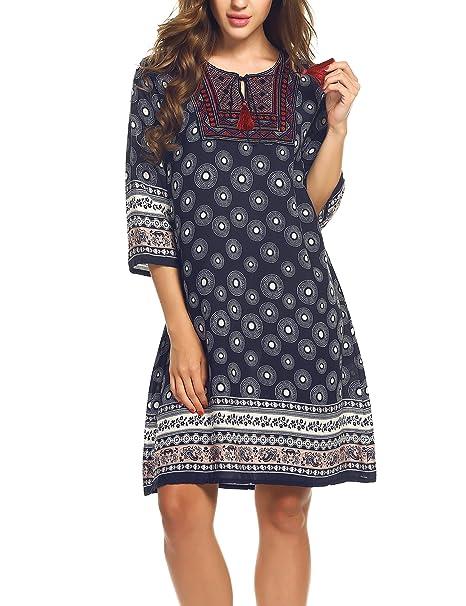 Meaneor Kurz Kleid Damen Minikleid Bluse Langarmshirt Beilaufiges