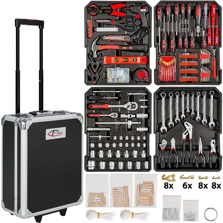 TecTake Set de herramientas piezas maletín carrito portaherramientas de aluminio