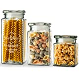 Glass Storage Jars by KooK, 3 Different Sizes, Great for Cereal, Rice, Cookies, Candy, Nuts, Flour, Sugar, Pasta, Large, Medium, Small, Set of 3