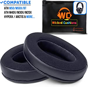 Upgraded Velour ATH M50X Earpads Made by Wicked Cushions - Compatible with Audio Technica M40X / M30X / M20X / M50XBT / HyperX Cloud & Cloud 2 / SteelSeries Arctis 3/5 / 7 & Arctis Pro Wireless