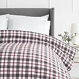 Pinzon 160 Gram Plaid Flannel Cotton Duvet Cover, King, Red / Grey Plaid