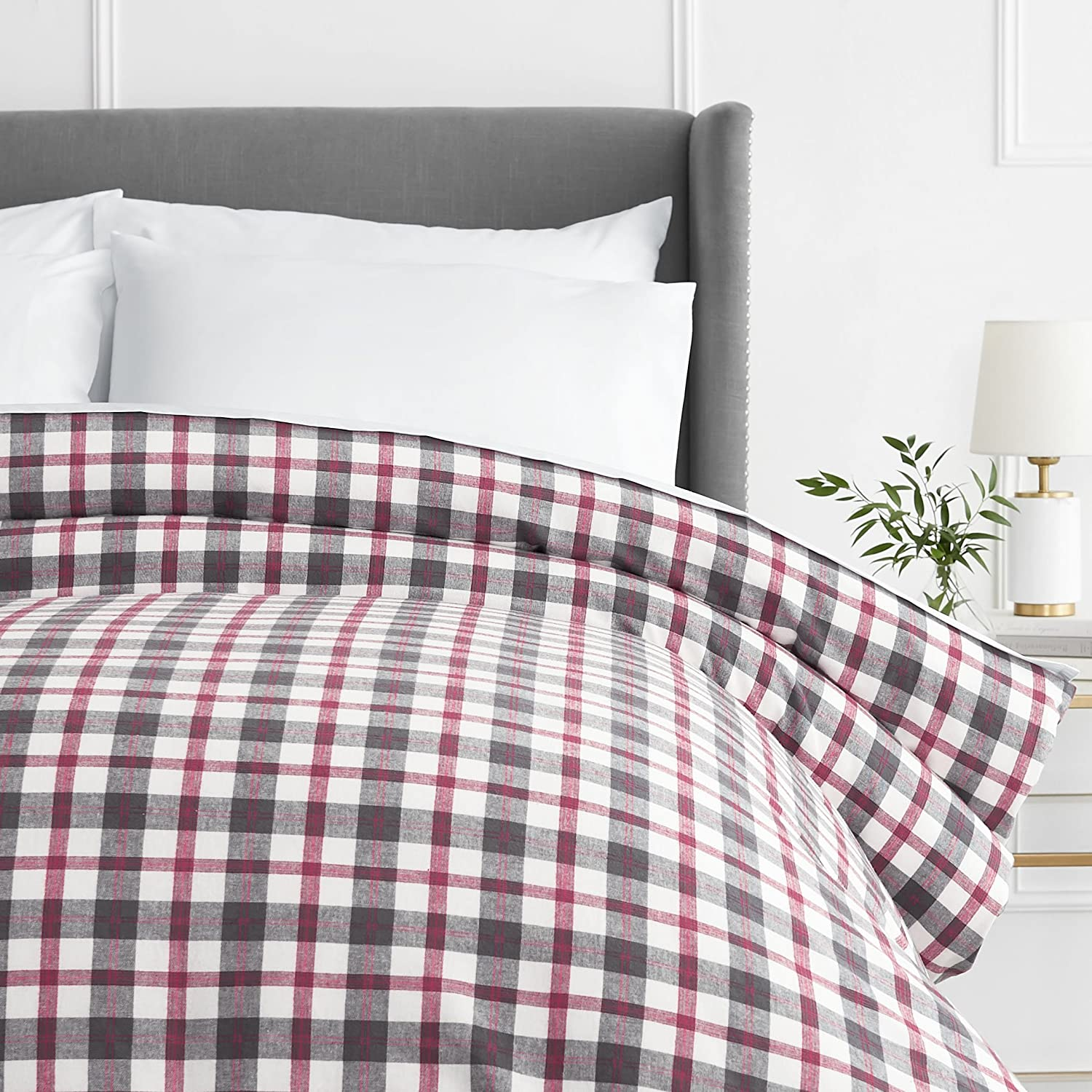 Pinzon 160 Gram Plaid Flannel Duvet Cover - Full/Queen, Blackwatch Plaid FLDC-BWPL-FQ