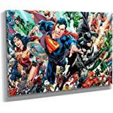 DC Comics Super Hero Action Shot - Batman - Superman - Canvas Wall Art Framed Print - Various Sizes (24in x 36in Gallery…