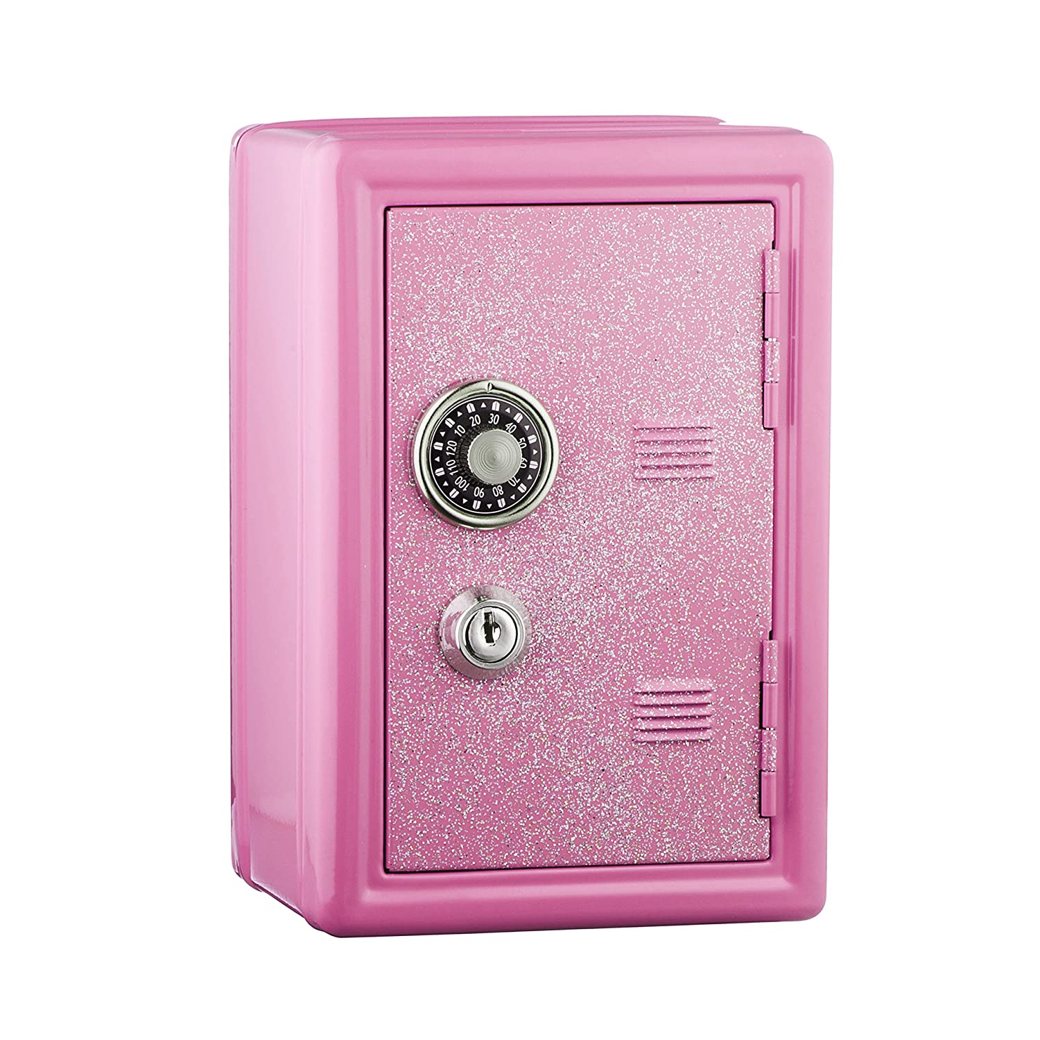 Kids Safe Bank Made of Metal with Key and Combination Lock Pink
