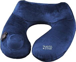 daydream aufblasbares Premium-Nackenkissen (TRAVELSTAR EDITION) mit integrierter Pumpe (bläst sich in 5 Sek. wie von selbst auf), dunkelblau (TS-N-2060-B)