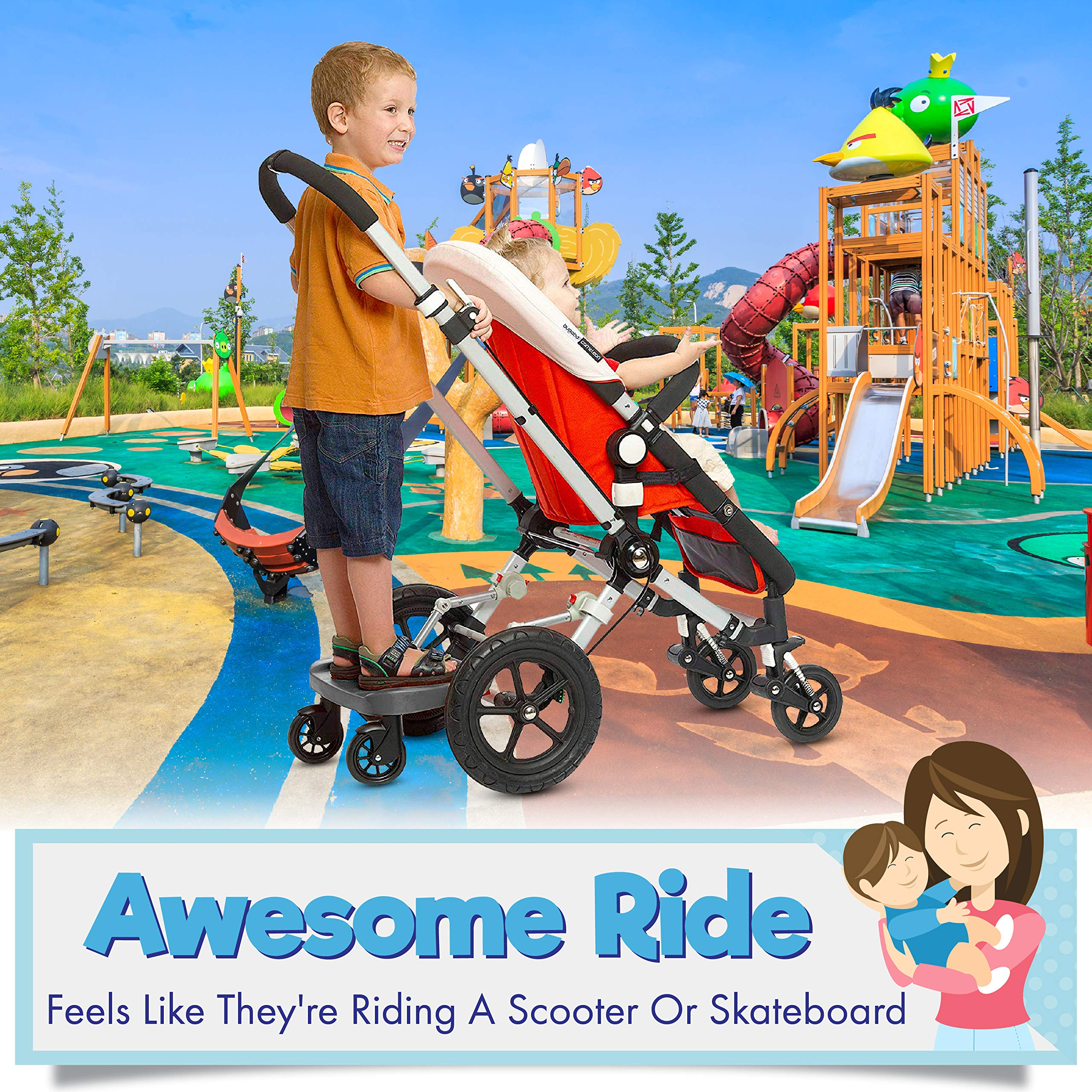 Ride Along - Universal Mount Ride-On Stroller Board Toddler Bump-Free Anti-Slip Buggy Stand by EZ step (Image #6)