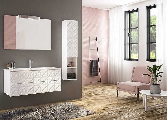 Piesse Mobili - Mueble de baño clásico de Madera decoración Moderna Mueble baño Lacado Blanco con Lavabo mineralmármol Espejo: Amazon.es: Hogar