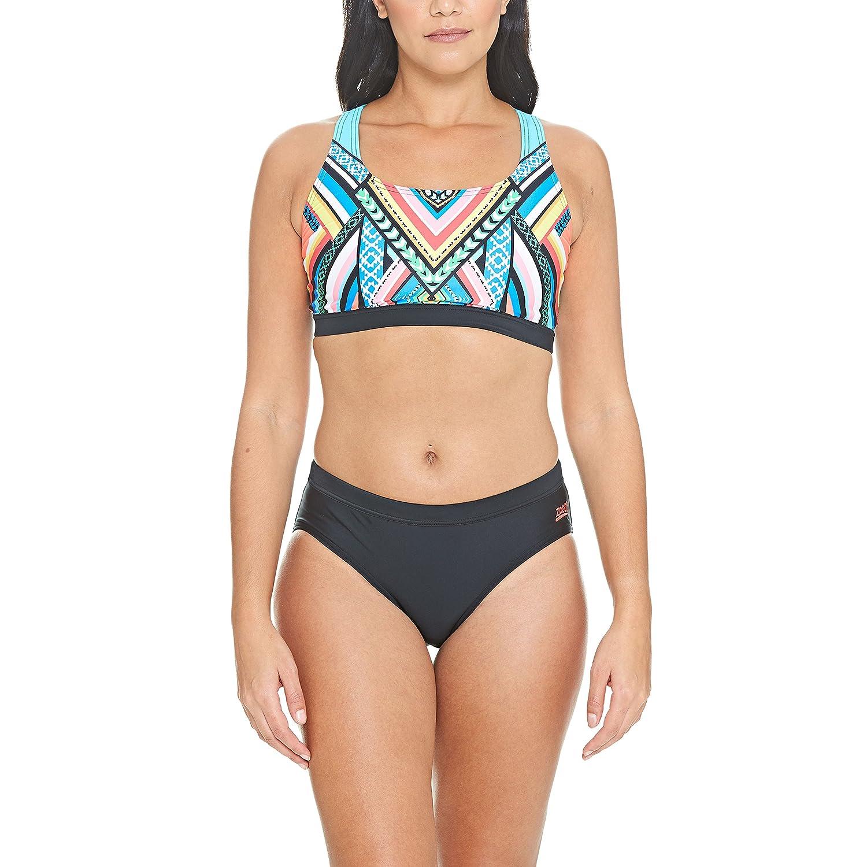 Zoggs Womens Monochrome High Neck Crop Fabric Bikini Top