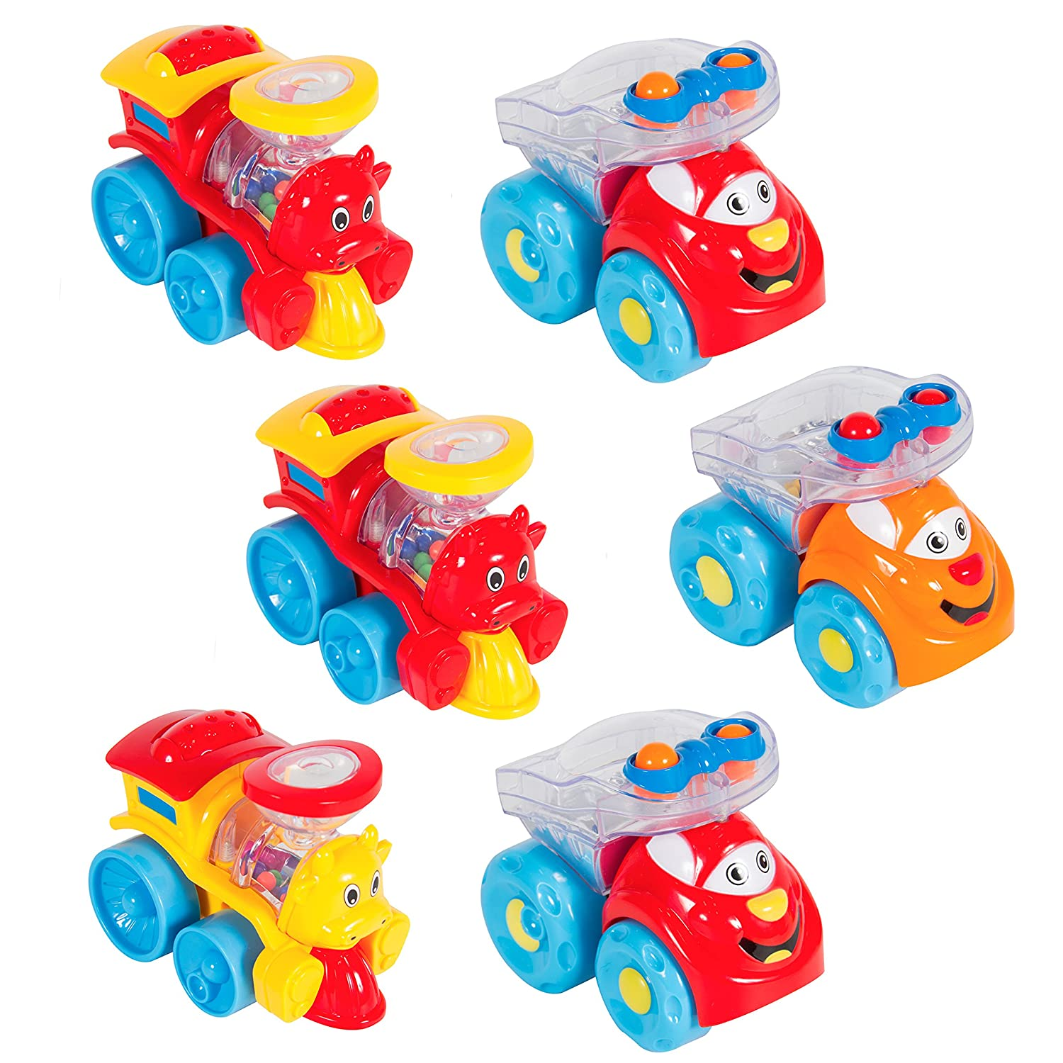 Amazon Best Choice Products Set of 6 Free Wheel Rattle Cars