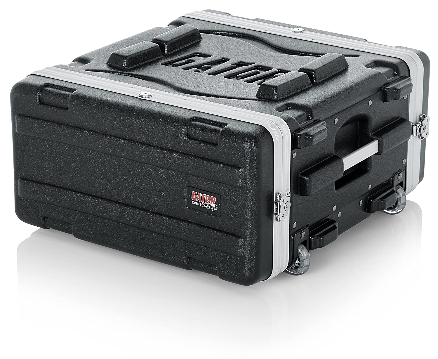 Gator Molded PE 4U 19.25 inch Rack Case with Front/Rear Rails/Pull Handle/Recessed Wheels and Locking GRR4L Portable_Electronics abs