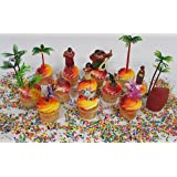 """MOANA Birthday CUPCAKE Topper Set Featuring Moana Figures,Themed Decorative Accessories, Figures Average 1"""" to 4"""" Tall"""
