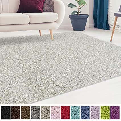 Icustomrug Cozy And Soft Solid Shag Rug 8x8 Off White Square Area Rug Ideal To Enhance Your Living Room And Bedroom Decor