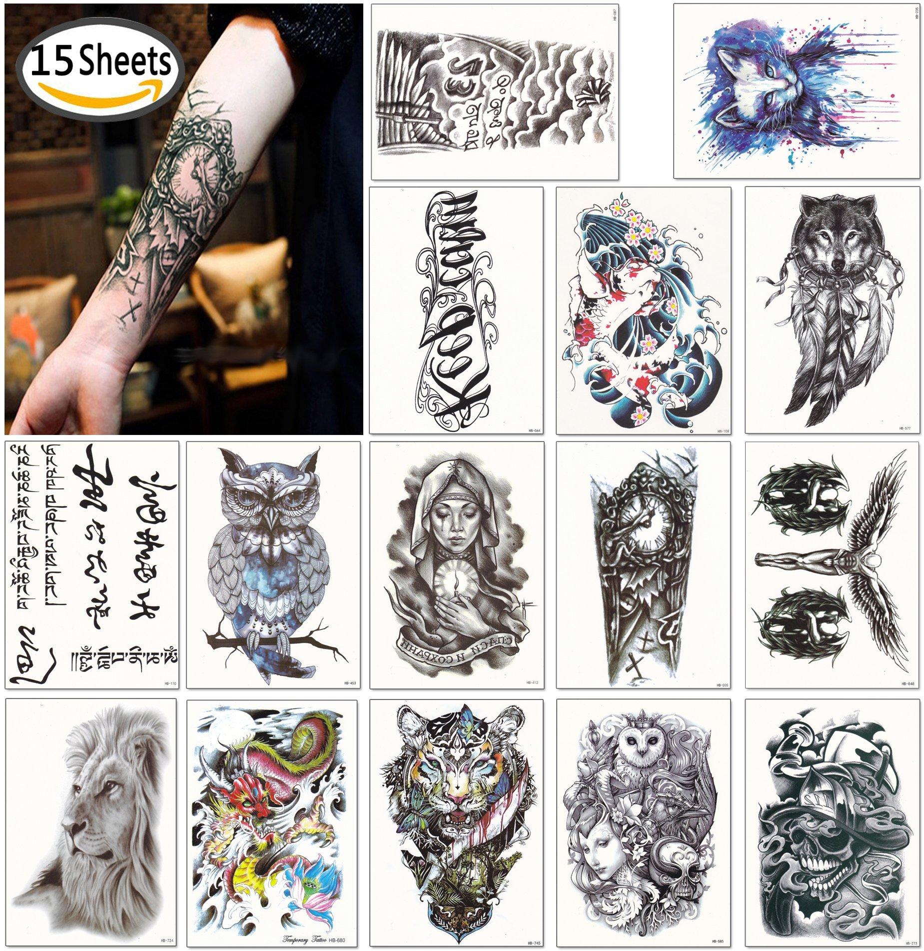 DaLin Large Temporary Tattoos Half Arm Tattoo Sleeves 15 Sheets, Robot Arm, Dead Skull, Koi Fish, Lion, Owl, Dragon, Tiger and more