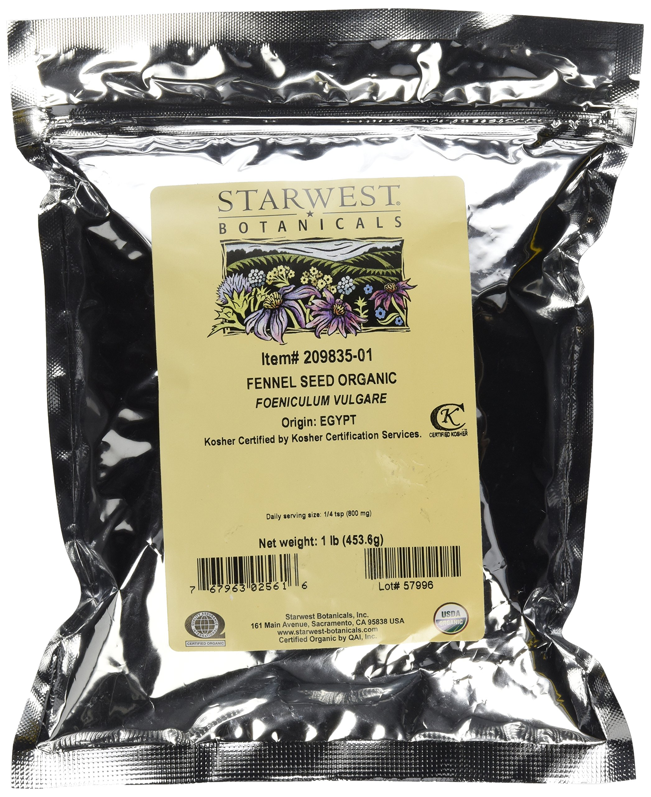 Starwest Botanicals Organic Fennel Seeds, 1 Pound