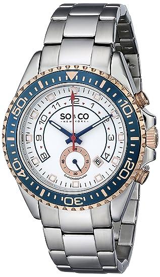 So y Co Club de Nueva York para Hombre de Yates Reloj Infantil de Cuarzo con Esfera analógica Blanca y Plateado Correa de Acero Inoxidable de 5015,2: ...
