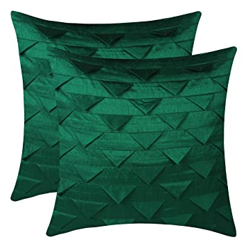 The White Petals Set of 2 Emerald Green Throw Pillow Covers, Origami Style,  Textured (Solid Emerald Green, 12x12 inches)