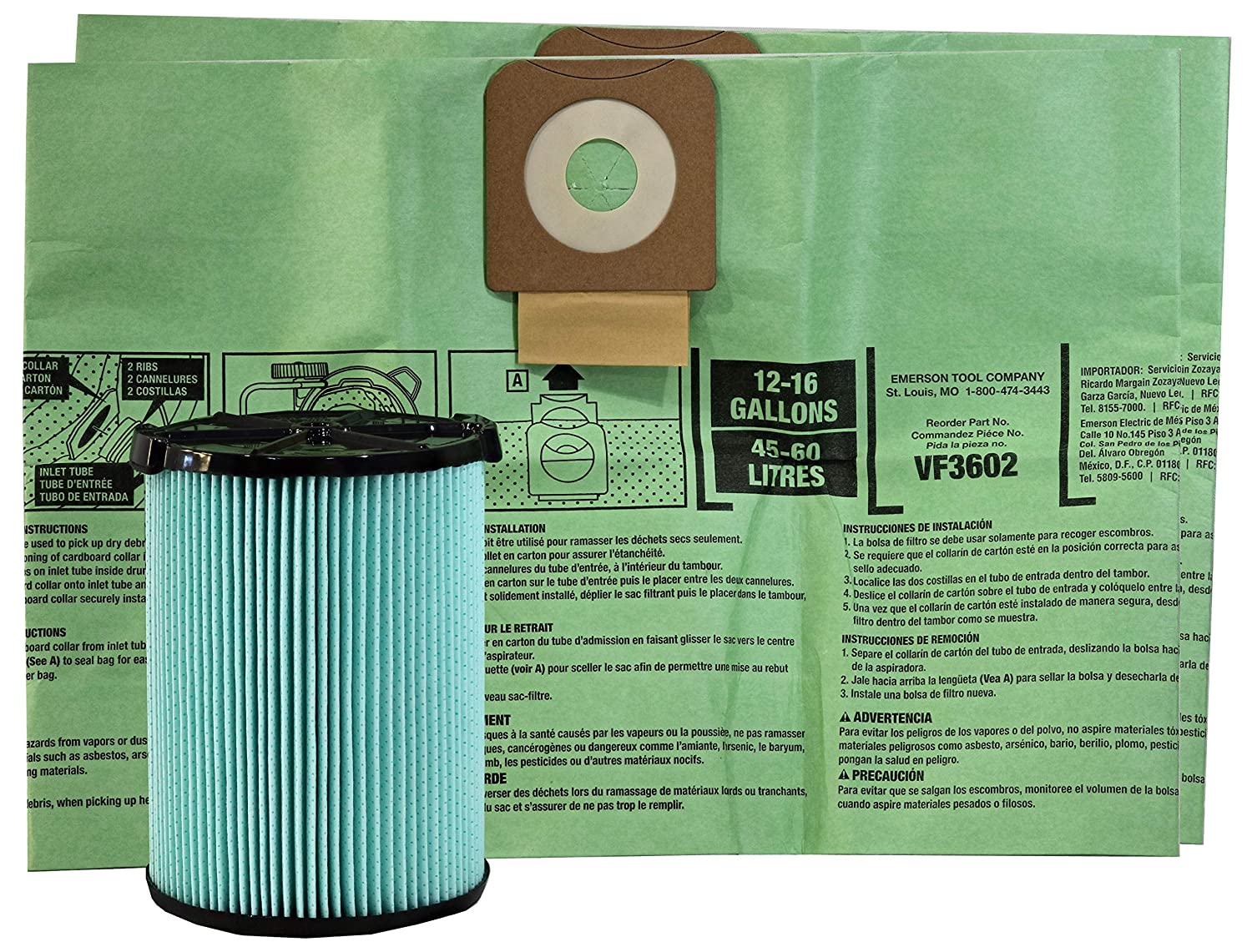 Ridgid VF6500 Filtration Set – Twin Pack of Dust Bags and HEPA Media Filter for Ridgid Wet / Dry Vacuums