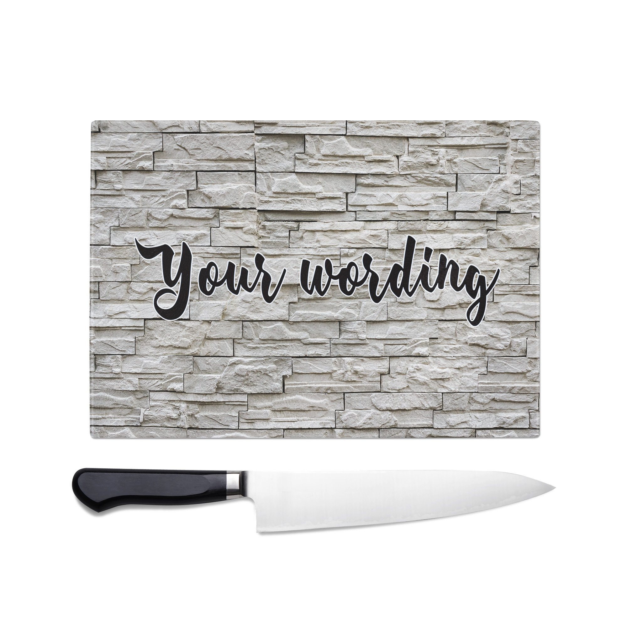 Brick Wall Personalized Tempered Glass Cutting Board Wedding Anniversary Gift
