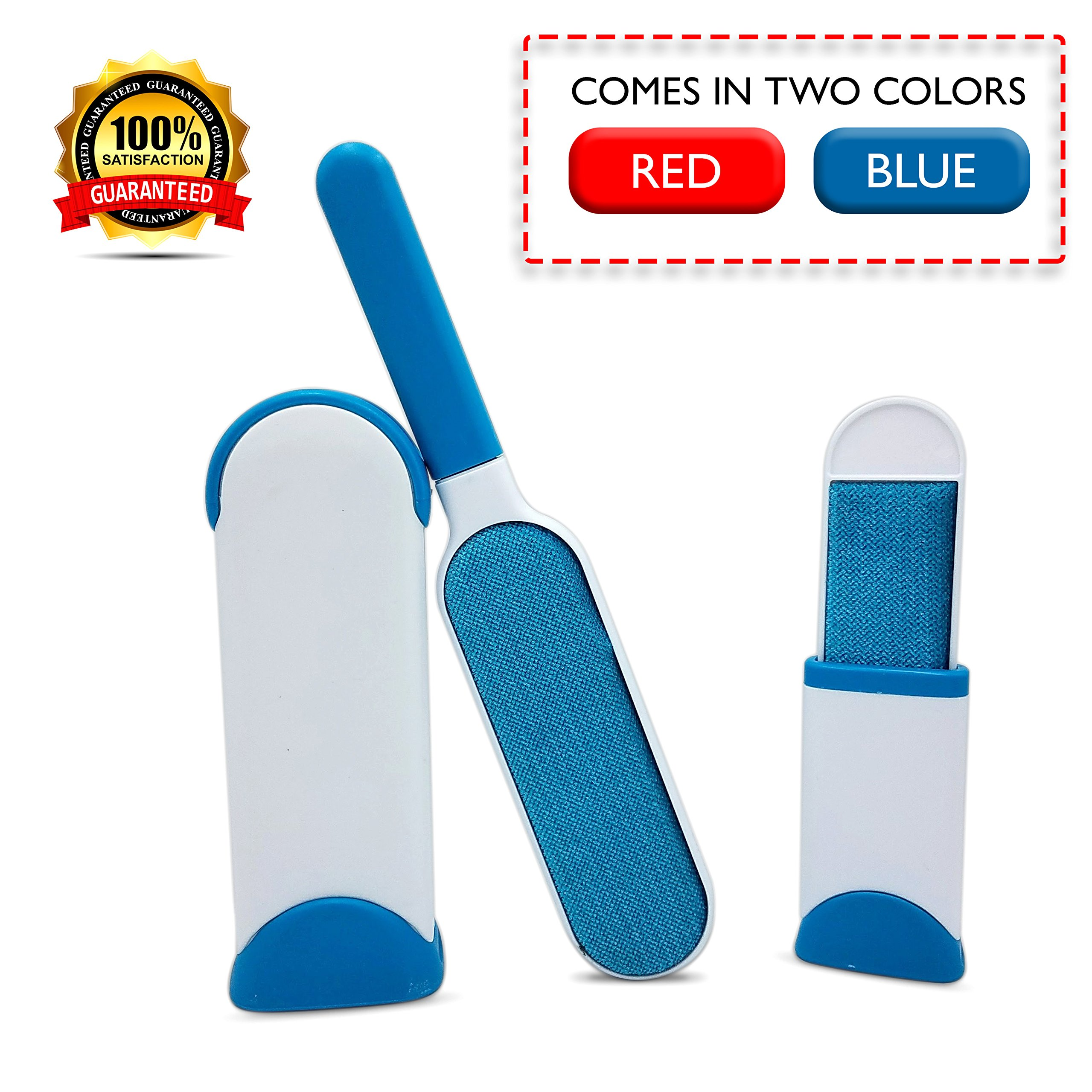 Lint brush, pet hair remover brush. Perfect for removing pet fur or lint from clothing and upholstery. Double-sided self-cleaning brush comes with bonus travel sized brush, available in red and blue