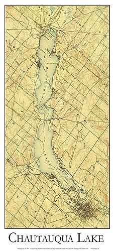 Amazoncom Chautauqua Lake Closeup Topographical Map USGS - Lake erie topographic map