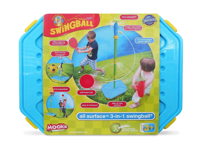 Mookie Swingball 3 in 1 Portable Game Set - Tetherball, Basketball, Soccer MK7241