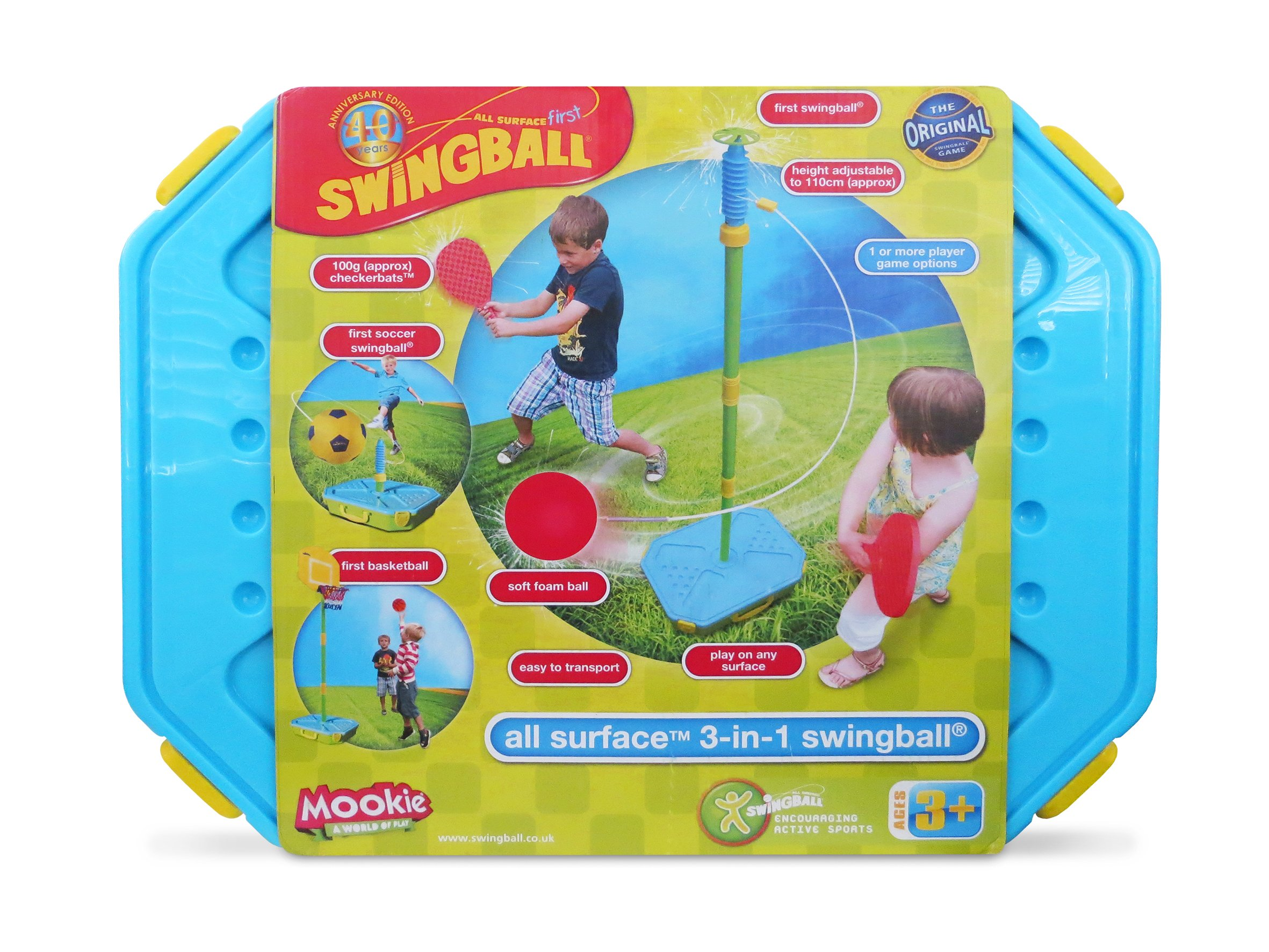 Mookie Swingball 3 in 1 Portable Game Set - Tetherball, Basketball, Soccer by Mookie