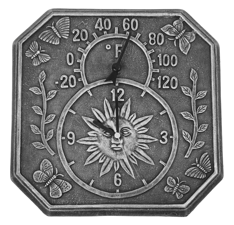 Amazon.com : Poolmaster 52555 Terra Cotta Clock And Thermometer   Antique  Black : Garden U0026 Outdoor