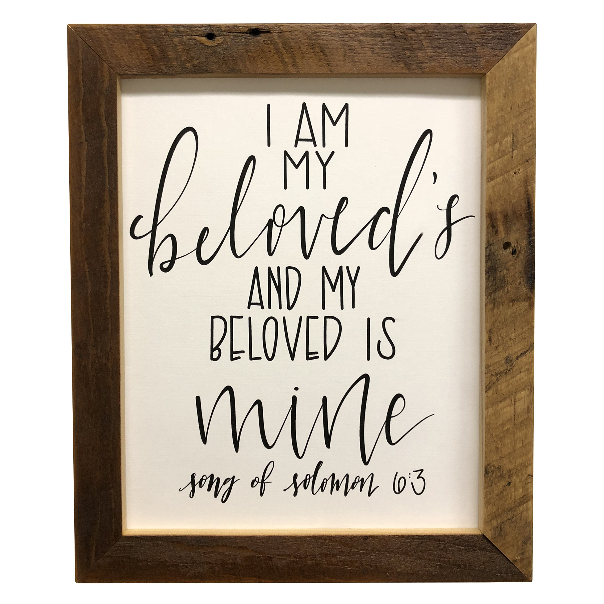 Hope Woodworking I Am My Beloved's and My Beloved is Mine Print, Bible Verse, Song Of Solomon 6:3, Picture Frame, 11x14 Reclaimed Wood