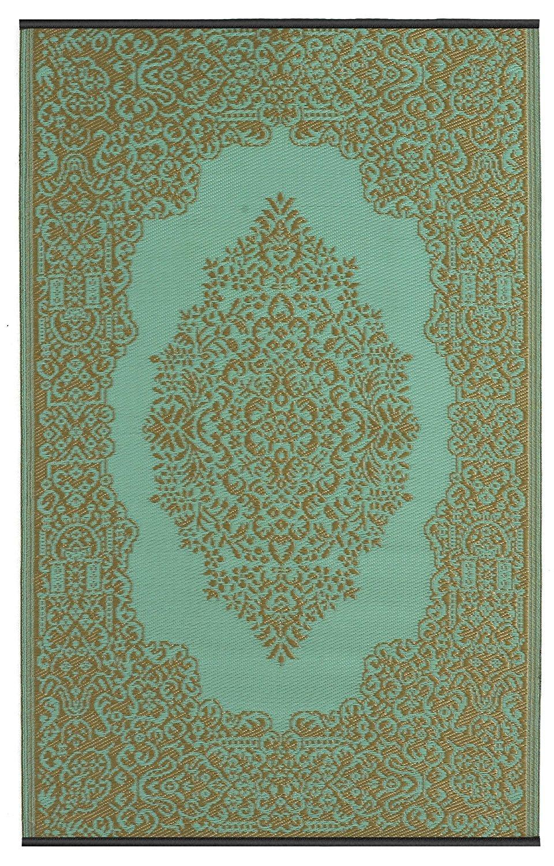Fab Hab - Istanbul - Hellblau & Bronze - Teppich  Matte für den Innen- und Außenbereich (180 cm x 270 cm)