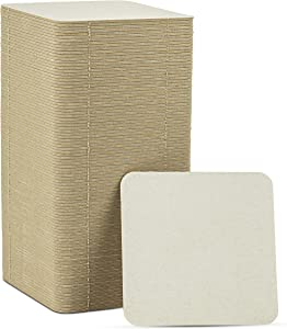 """MT Products 4"""" Blank Off-White Heavyweight Cardboard Square Coasters for Your Beverages 2 MM Thickness (100 Pieces)"""