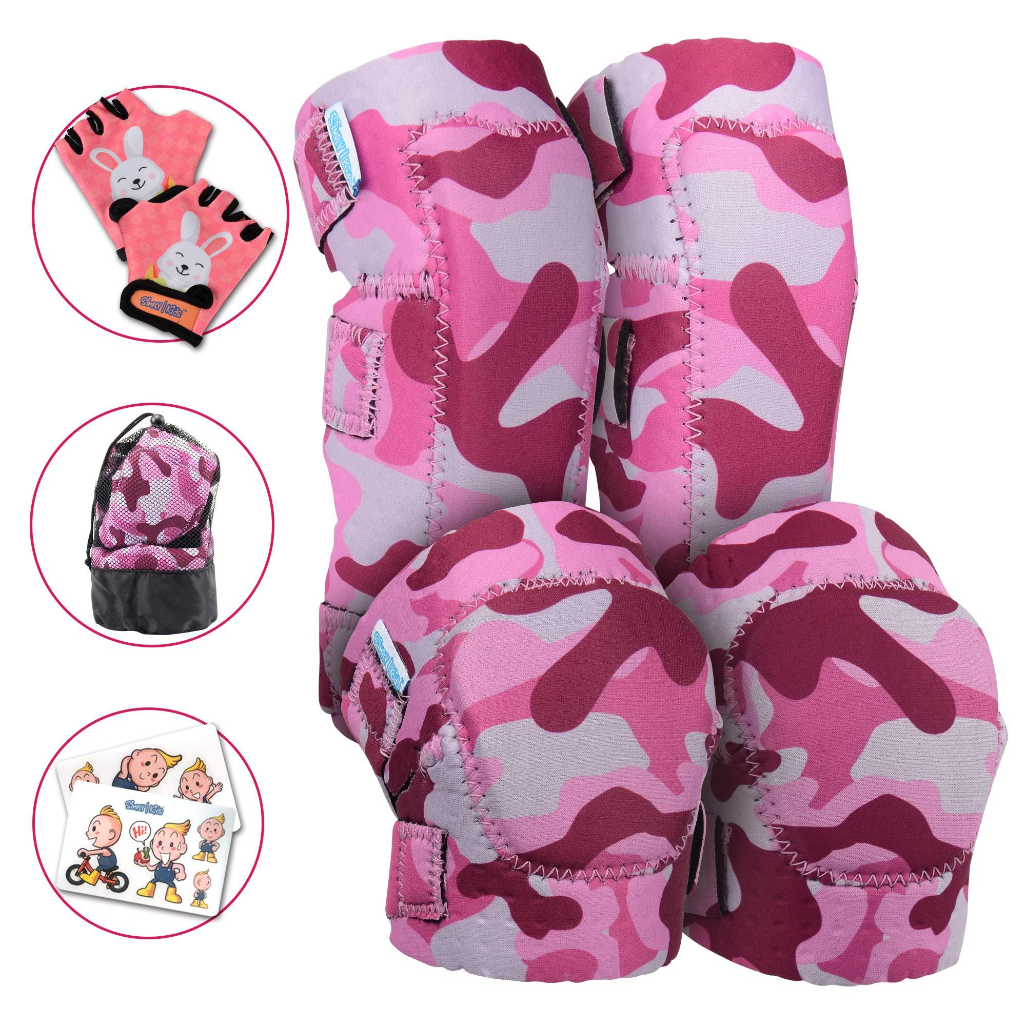 Innovative Soft Kids Knee and Elbow Pads with Bike Gloves | Toddler Protective Gear Set w/Mesh Bag | Roller-Skating, Skateboard for Children Boys Girls
