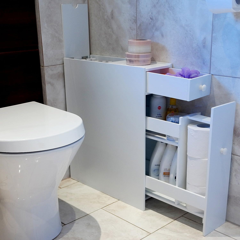 Marko Slimlineaniser Bathroom Cupboard Cabinet White Wooden Toilet Roll  Storage: Amazon: Kitchen & Home