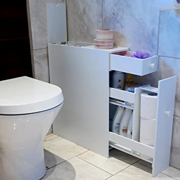 Marko Slimline Organiser Bathroom Cupboard Cabinet White Wooden