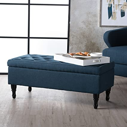 Exceptionnel Constance Tufted Top Fabric Storage Ottoman (Navy Blue)