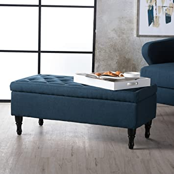 Enjoyable Gdf Studio Constance Navy Blue Fabric Storage Ottoman Caraccident5 Cool Chair Designs And Ideas Caraccident5Info