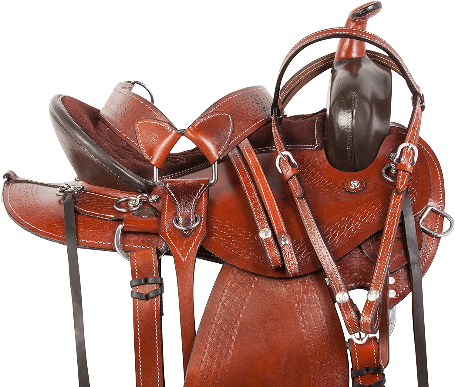 """Acerugs GAITED Bars Western Trail Black Synthetic Horse Saddle TACK Package 14/"""" 15/"""" 16 17 18/"""""""