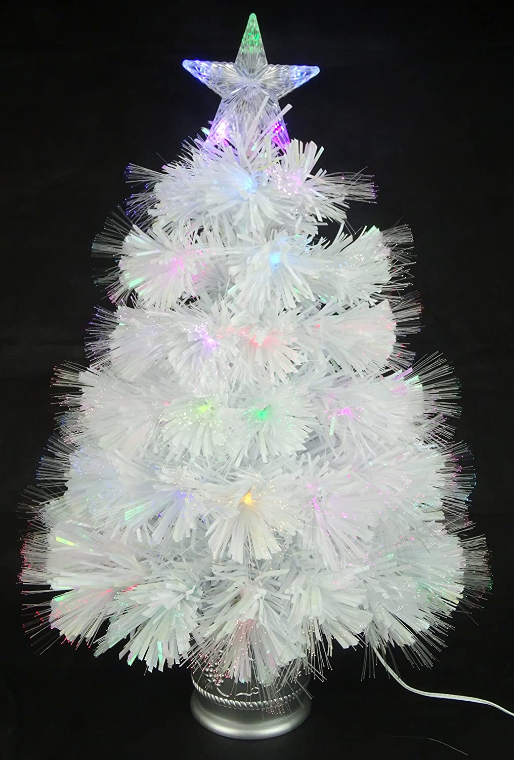 Christmas Concepts® 2ft (60cm) White Iridescent PVC Fibre Optic Christmas Tree With Colour Changing LED Lights