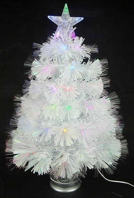 Christmas Concepts® 2ft (60cm) Blanco Iridiscente PVC Fibra Óptica Árbol de Navidad Con
